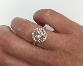 Morganite Halo Diamond Engagement Ring