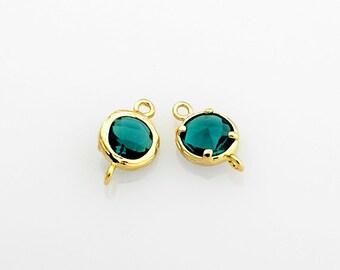 2010041 / Emerald / 16k Gold Plated Brass Framed Glass Connector 13mm x 8mm / 0.5g / 2pcs