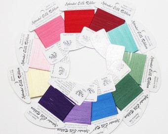 Splendor Silk Ribbon 2.50 Each, Splendor Silk Ribbon 2mm Sampler Pack, 100% Silk Ribbon, Threads, 2mm Silk Ribbon, Rainbow Gallery Splendor