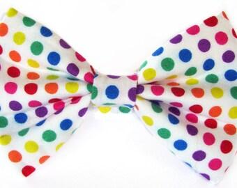 Rainbow polka dots cat bow tie & dog bow tie, multicoloured