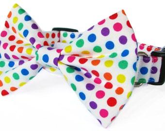 Rainbow polka dot dog bow tie collar set & cat bow tie collar set - adjustable with bell (optional)