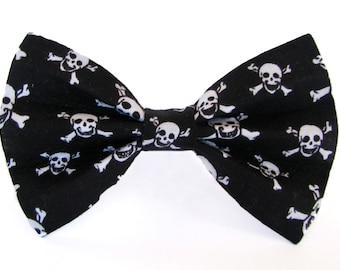 Black and white skulls dog bow tie & cat bow tie, skull and crossbones