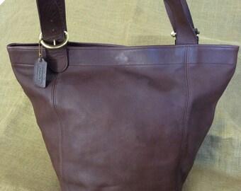 Rare XL bucket original COACH brown leather shopping tote bag