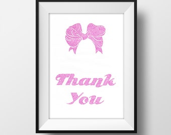 Thank You Bow Print Art - A4 Print - Gift