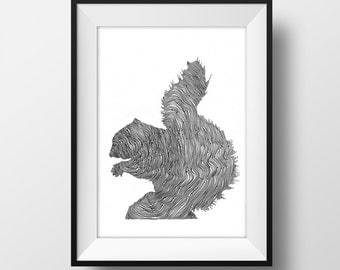 Squirrel Line and Circle Illustration Print - Ink- Drawing - Art