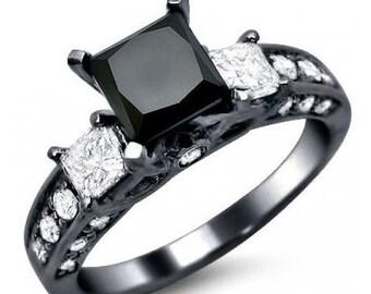 2.40ct Black Princess Cut 3 Stone Diamond Engagement Ring 14k Black Gold