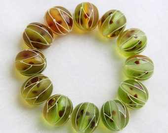 Glass lampwork berries beads Gooseberry. Green and yellow colors.