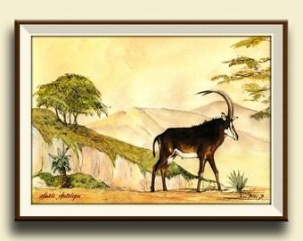 PRINT-Giant Sable antelope african art wild watercolor print painting deer africa portrait   - Art Print by Juan Bosco
