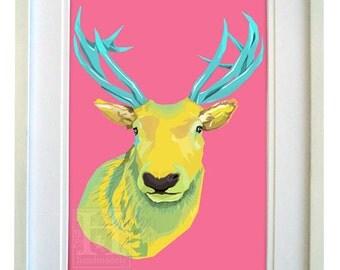 Geometric Stag/Deer Print (Bright) A4