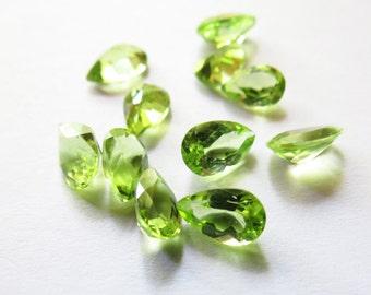 Natural 8x5mm Pear Green Peridot Gemstone, Green Peridot 8x5mm Gemstone, Green Peridot Pear Loose Gemstone, 8x5mm Peridot August Birthstone