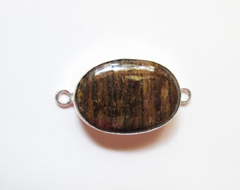 Natural Brown Gold Bronzite Gemstone Cabochon Connector Link, 42x22mm, Sterling Silver Gemstone Findings, Jewelry Supplies