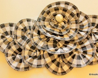 Black And white Checks Cotton Fabric Flower Applique Patch With Silver thread Piping And Pearl - 030315A185