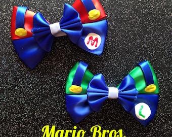 Mario & Luigi inspired bows