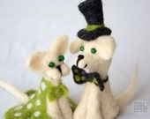 Cute cat and dog, kitty and puppy, cake topper, needle felted pair, summer decoration, white and green, felted animals