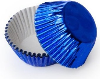 50 Blue Foil Cupcake Liners, Baking Cups, Greaseproof, Professional Grade