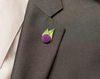 Plum Dahlia Lapel Pin / Flower Lapel Pin / Chrysanthemum Lapel Pin/Purple Lapel Flower