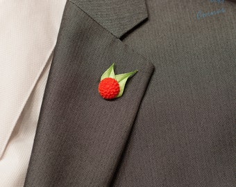 Red Dahlia Lapel Pin / Flower Lapel Pin / Chrysanthemum Lapel Pin/ Red Lapel Flower