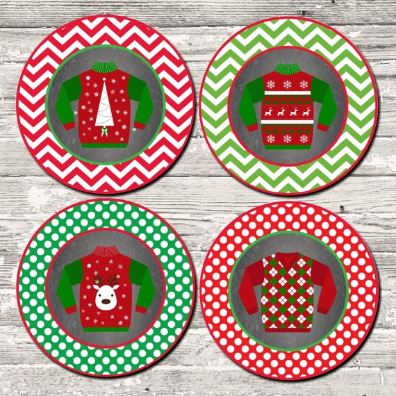 INSTANT DOWNLOAD Ugly Sweater Party Cupcake Toppers