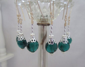 Green and Silver Crystal Bead Dangle Ornament Set  Chandelier Decorations Photo Props