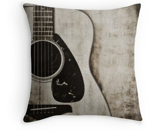 Guitar Photo Pillow Cover, Decorative Throw Pillow Cover, Guitarist Gift, Guitar Art , Music Room Decor, Black and White Musical Decor,