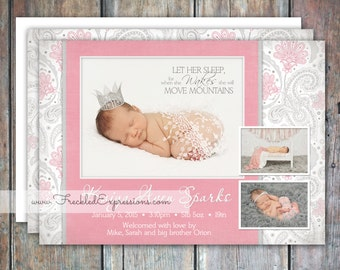 Baby Girl Birth Announcement-mountains