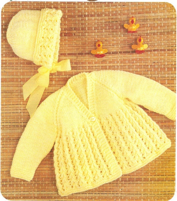 PDF Knitting Pattern Babys Matinee Coat and Bonnet DK