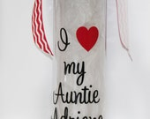 "Personalized ""I Love My Auntie"" BPA Free Plastic Water Bottle - Birthday - Gift Idea - Travel - Sports - Drink - On-the-Go - Women"