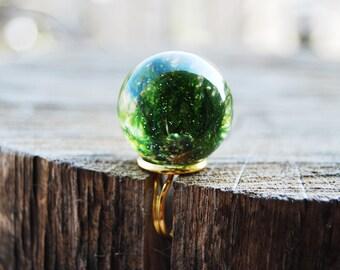 Moss resin ring, Handmade nature green moss ring, gold metal, nature jewelry, moss ring, green and gold, statement ring, summer fashion