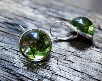 Moss resin earrings, Handmade gree moss earrings, bronze metal, nature jewelry, moss earrings, green and bronze, statement earrings