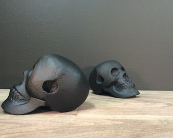Heavy Black Skull Bookends ~ Cast Iron Black Unique Book Ends ~ 2 Modern Goth Style Retro Pop Art