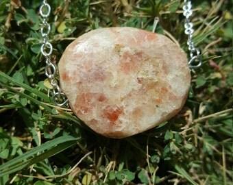 Sunstone Pendant Necklace, Silver Chain