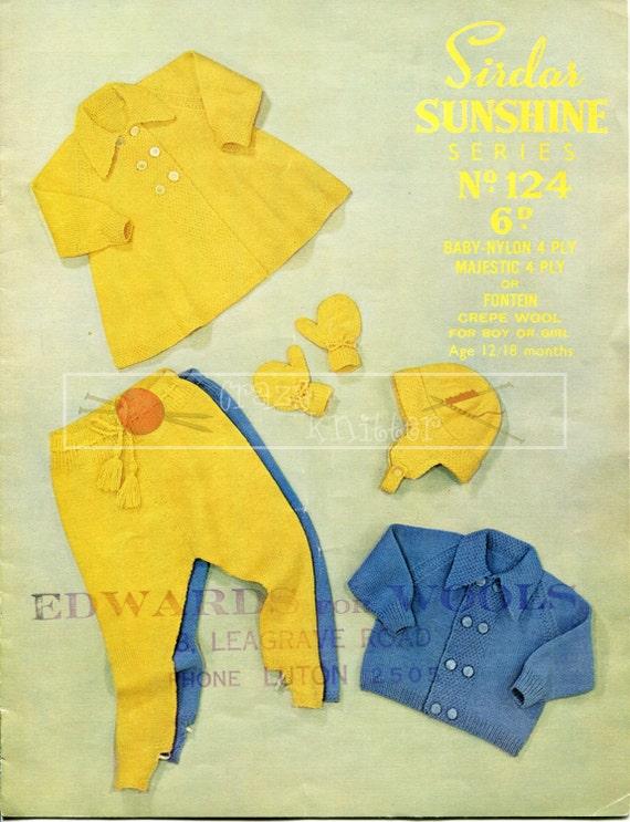 Baby Pram Set 12-18 months 4-ply Sirdar Sunshine Series 124 Vintage Knitting Pattern PDF instant download