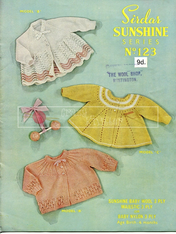 Baby Matinee Coats 0-6 months 3-ply Sirdar Sunshine Series 123 Vintage Knitting Pattern PDF instant download