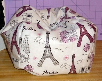 American  Girl doll size bean bag chair in cotton Glitter Paris Eiffel Tower theme