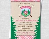 Girl Camping Birthday Invitation - Camp Out/Sleepover Party - Digital Design or Printed Invitations - FREE SHIPPING