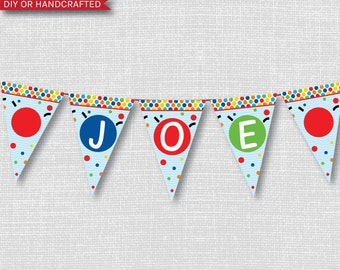 Bouncy Ball Party Happy Birthday Banner - Ball Themed Party - Digital Design - FREE SHIPPING
