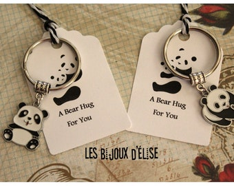 Set of 2 Panda Keychains Mother and Daughter, Dad and Son, Best Friends Keychains His and Hers Couple Keychains Valentine Keychains
