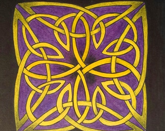 Signed Original Artwork Painting Celtic Knot Cross Art Abstract Knotwork **Not a Print! **