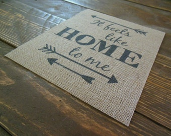It Feels Like Home to Me - Indiana State on Burlap, 8in x 10in