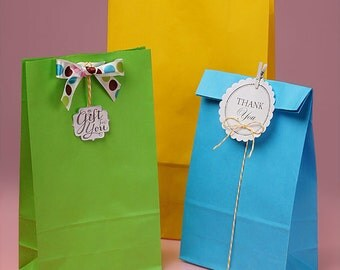 12 Colored Grocery Style Paper Treat Bags - Mix and Match Colors