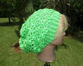 Limelight Green Spring Crochet Slouch Hat - Slouch Hat - Handmade Crochet Hat