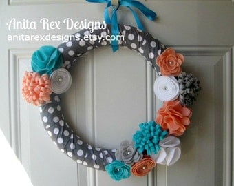 Spring Wreath, Modern Wreath, Polka Dot Wreath, Peach, Turquoise, Grey and White Wreath, Floral Wreath, Handmade Wreath