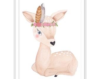 Fawn Art, Deer Art, Feather Art Print, Watercolor Print, Fine Art Watercolor Prints, Wall Art, Home Decor, Watercolor Art, Bedroom Decor