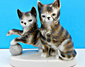 German Porcelain Cat Figurine, Vintage Collectible European Kitties, Two Kitty Cats w/Ball, Gray Tabby Figure, Treasured German Porcelain