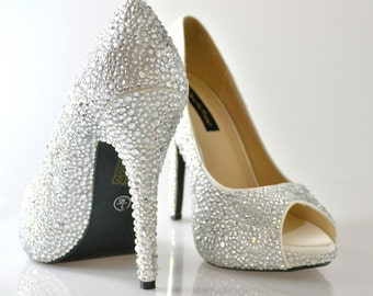 Swarovski Crystal Glitter Bridal High Heel Stiletto Corset Luxury Peeptoe Platform White Leather Pump
