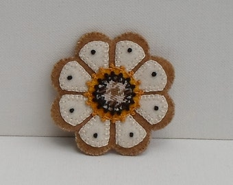Hand Made Brooch Felted Wool Appliqued & Embroidered Gold and Cream Flower