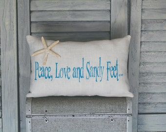 Peace, Love, and Sandy Feet Decorative Pillow, Beach Pillow, Decor Pillow, Simple Pillow burlap pillow 14x9 accent pillow