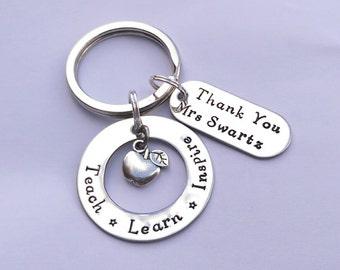 Personalised teacher gift - teacher present -  end of term present - Thank you teacher keyring - apple keyring - teaching assistant gift
