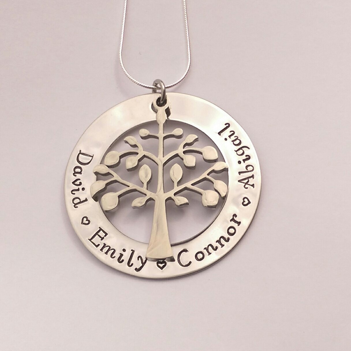 Personalised family tree necklace hand stamped - present for mum mom - personalized present for her - family name necklace, mothers day gift