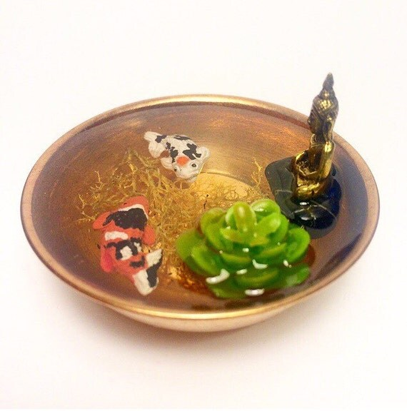 Miniature resin koi fish pond in copper bowl with miniature for Resin koi fish
